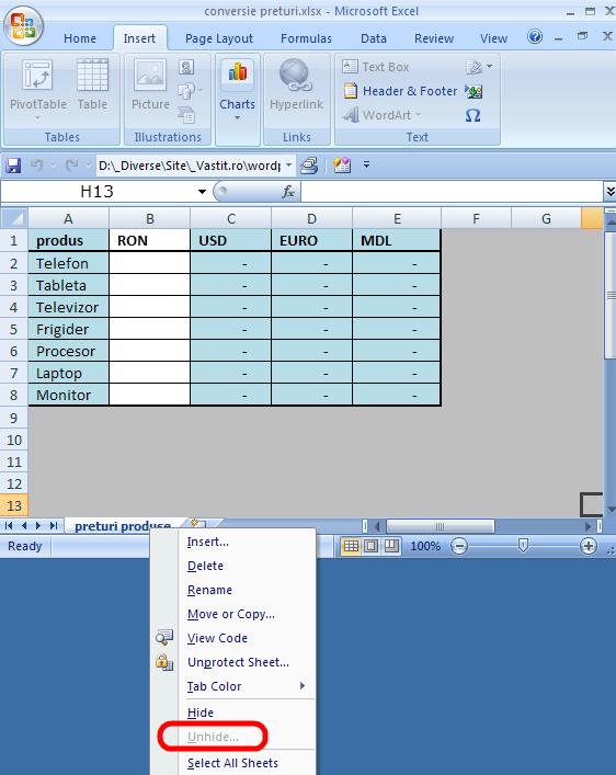 Excel hide worksheet sau ascunde foaia de lucru