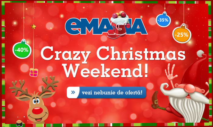 Noi reduceri in weekent la eMAG-Crazy Christmas Weekend 2015