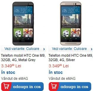 HTC One M9 in stoc la emag si pe la altii 1