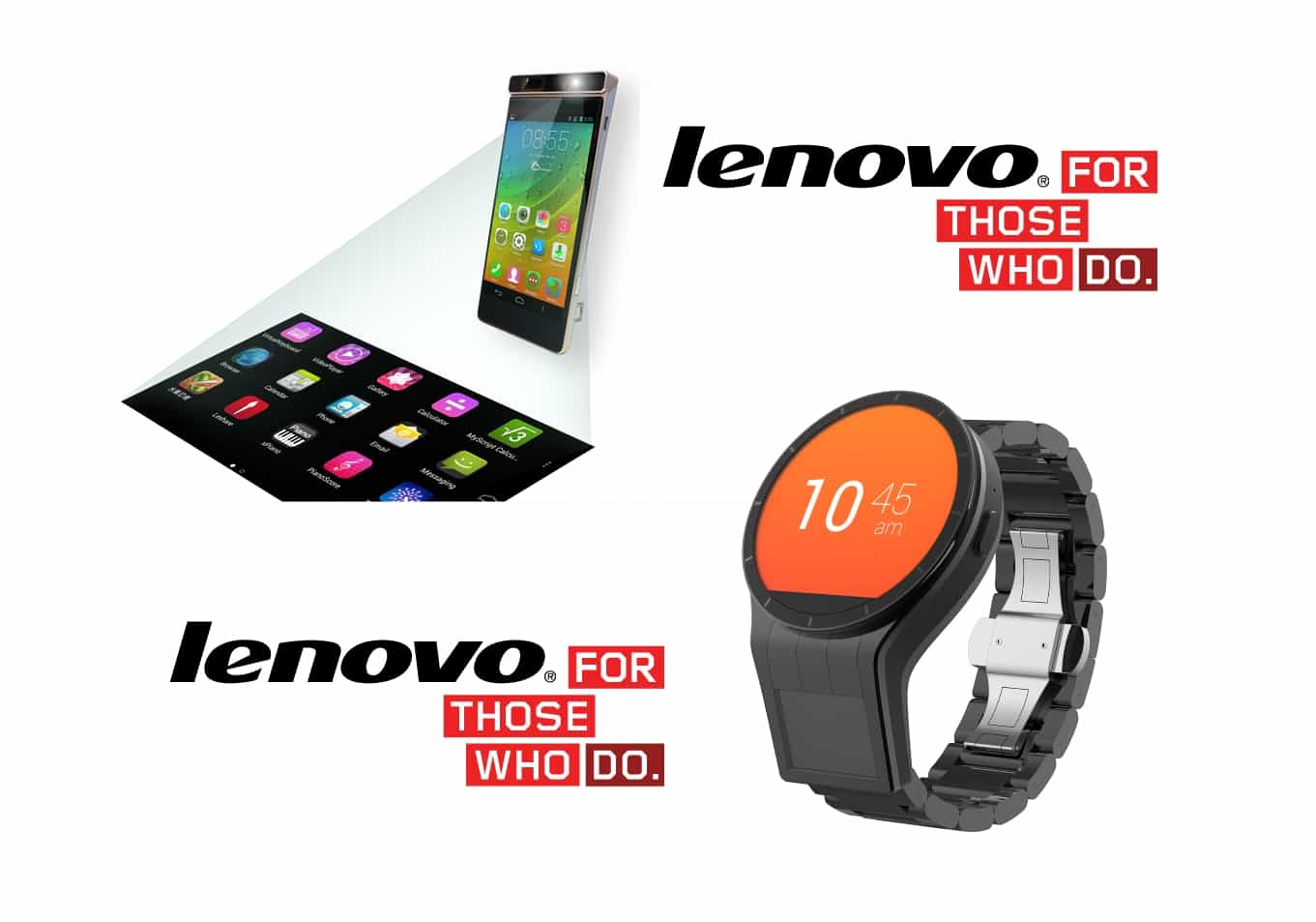 Lenovo Tech World-Smartwatch Magic View cu doua ecrane si Smartphone SmartCasta cu video proiector