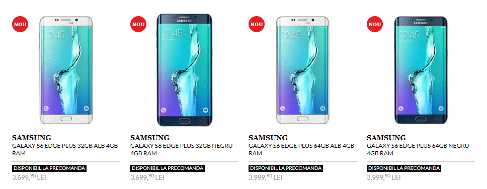Galaxy Note 5 este in stoc la QuickMobile iar Edge plus la precomanda 1