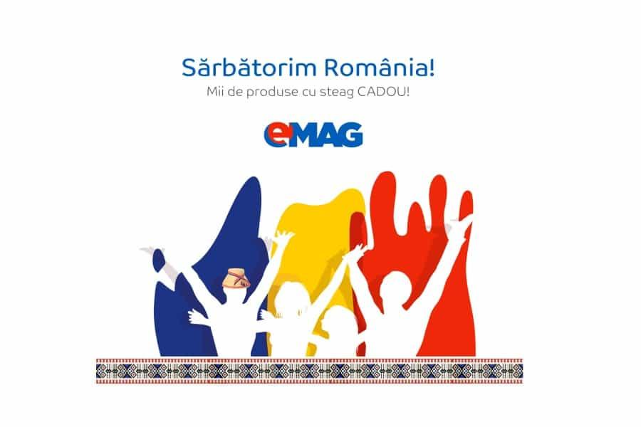 eMAG-Sarbatoreste ziua Romaniei cu reduceri si steag Cadou