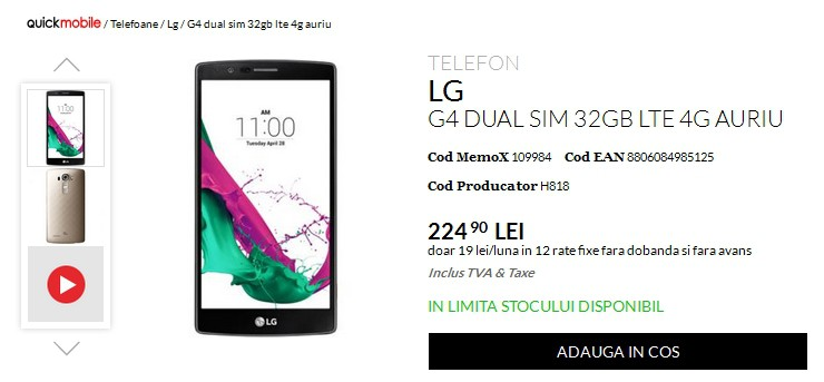 QuickMobile, vouchere, LG G4, pret gresit, oferte, telefoane