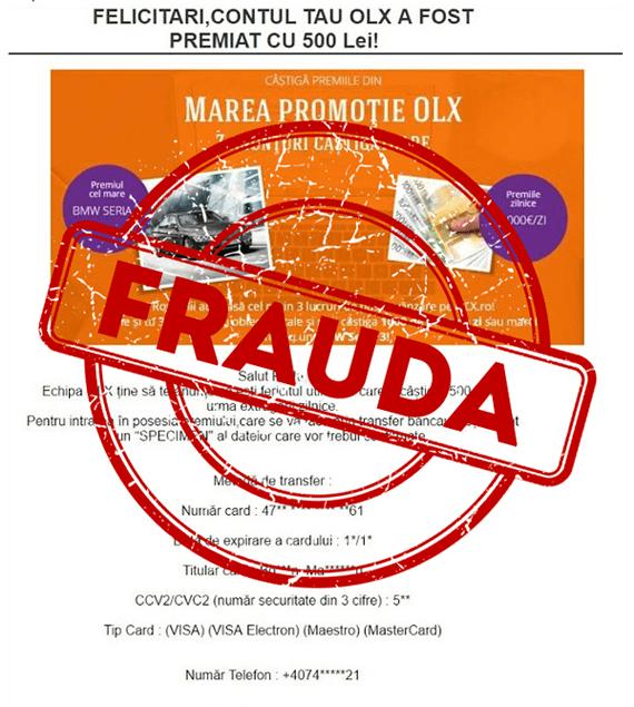 "OLX avertizeaza utilizatorii ""frauda pe OLX.ro"""