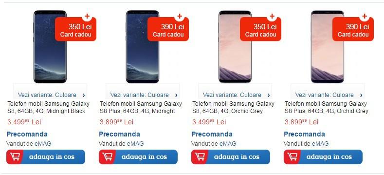 Avem preturile pentru Samsung Galaxy S8 si S8 Plus la eMAG-preturi