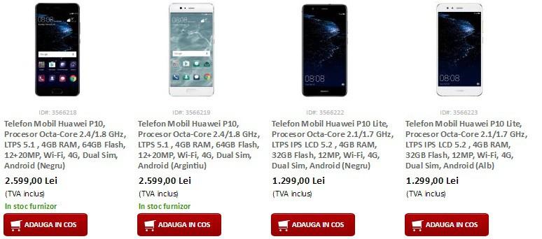 Ce pret are Huawei P10-disponibil in Romania la Precomanda-evomag