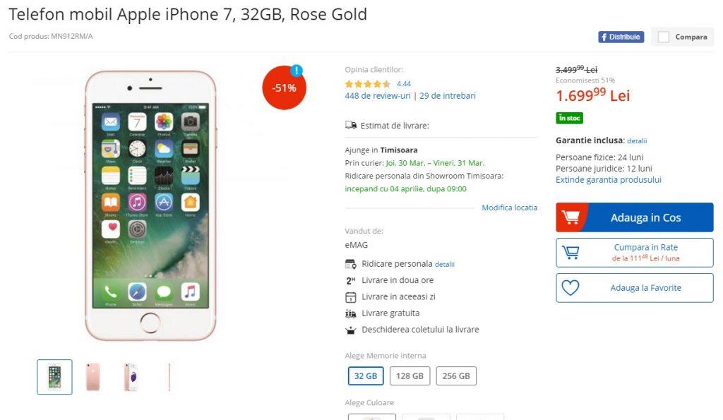 Preturi gresite la eMAG, iar!-martie 2017-iPhone 7 de 32 GB Rose Gold