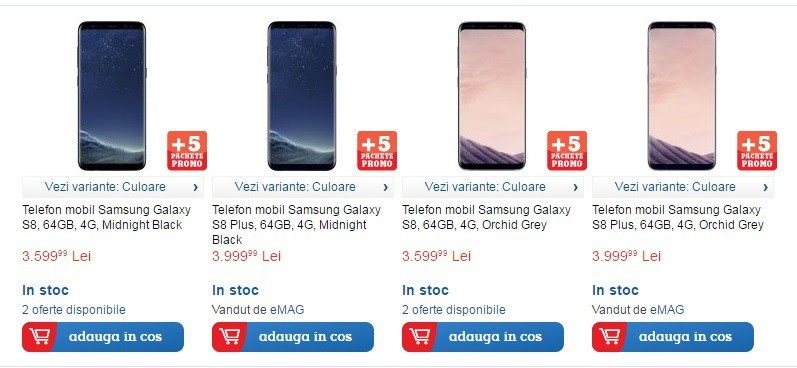 Samsung Galaxy S8 si S8 Plus in stoc la eMAG, Flanco, Vodafone, Orange...