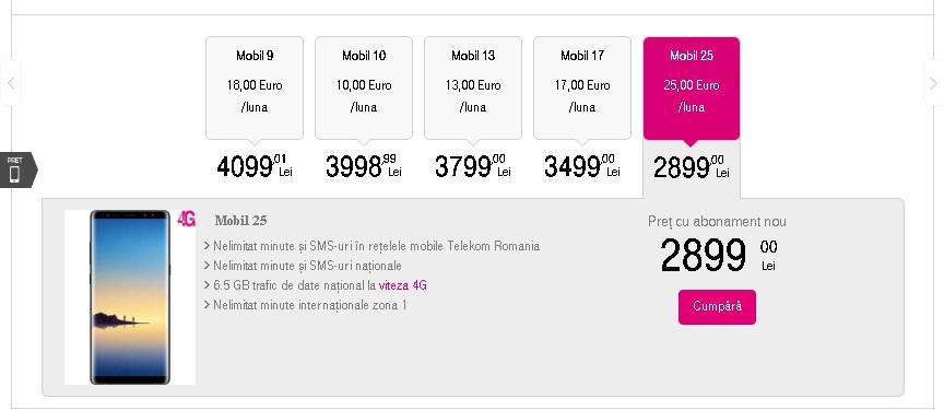De unde putem comanda Note8 in Romania si la ce pret telekom oferta