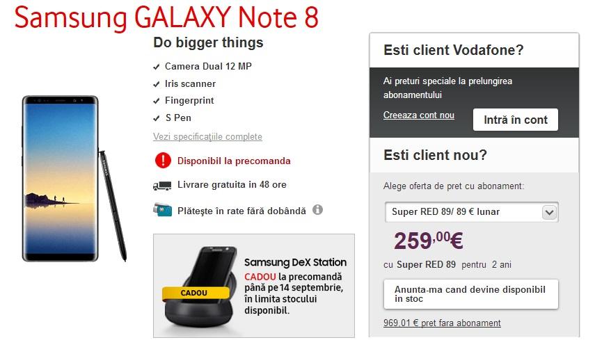 De unde putem comanda Note8 in Romania si la ce pret vodafone