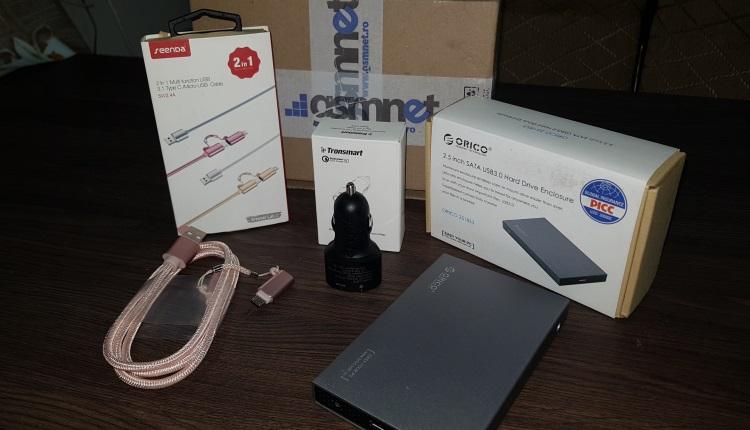 Unboxing surpriza cu produse de la gsmNET.ro - incarcator auto cu Fast charging si Volt IQ, cablu USB 2in1 Tip C-microUSB, rackHDD SSD Extern