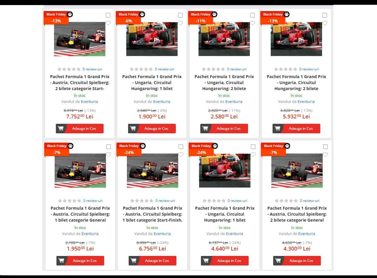 eMAG Black Friday 2017 Bilete la Formula 1 in Ungaria (circuit Hungaroring) si in Austria (circuit Spilberg)