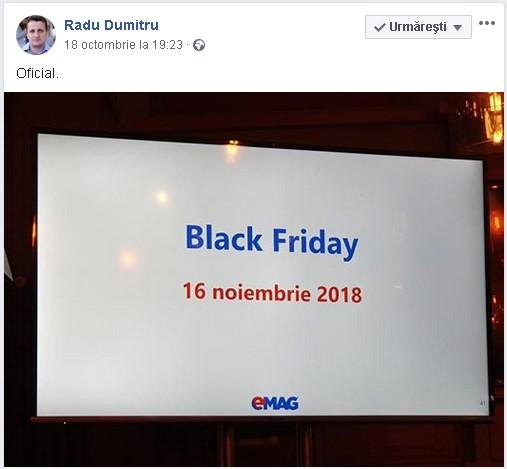 Black Friday la eMAG 2018 va fi tot intr-o vineri, pe 16 Noiembrie-nwradu