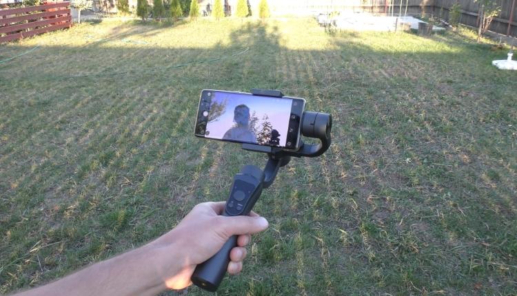 Review Stabilizator Gimbal HS-S5 cu 3 axe pentru telefon-ss