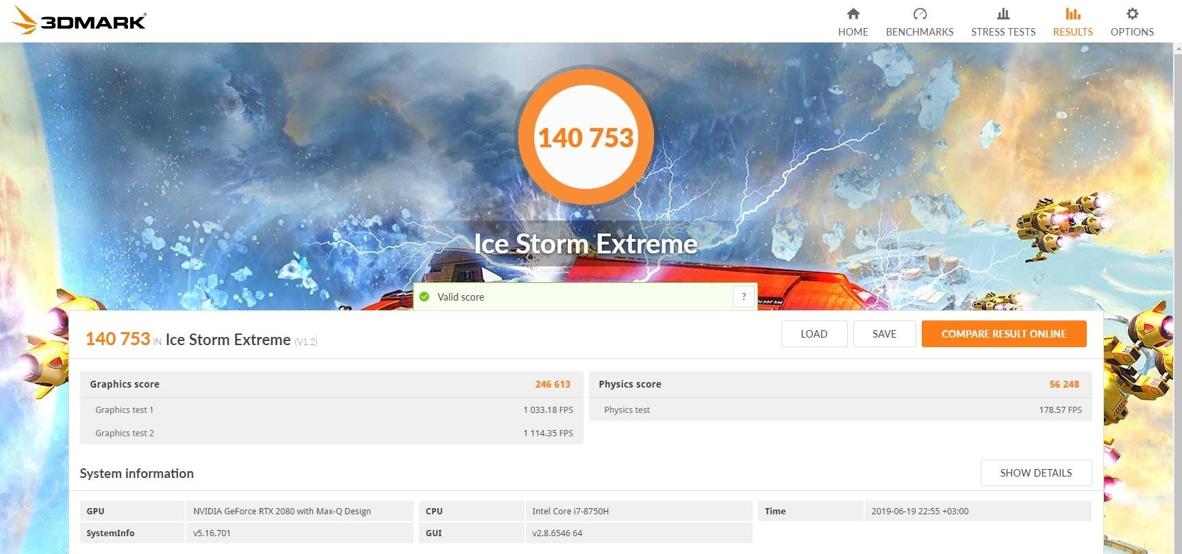Acer Predator Triton 500-3dmark ice storm extrem