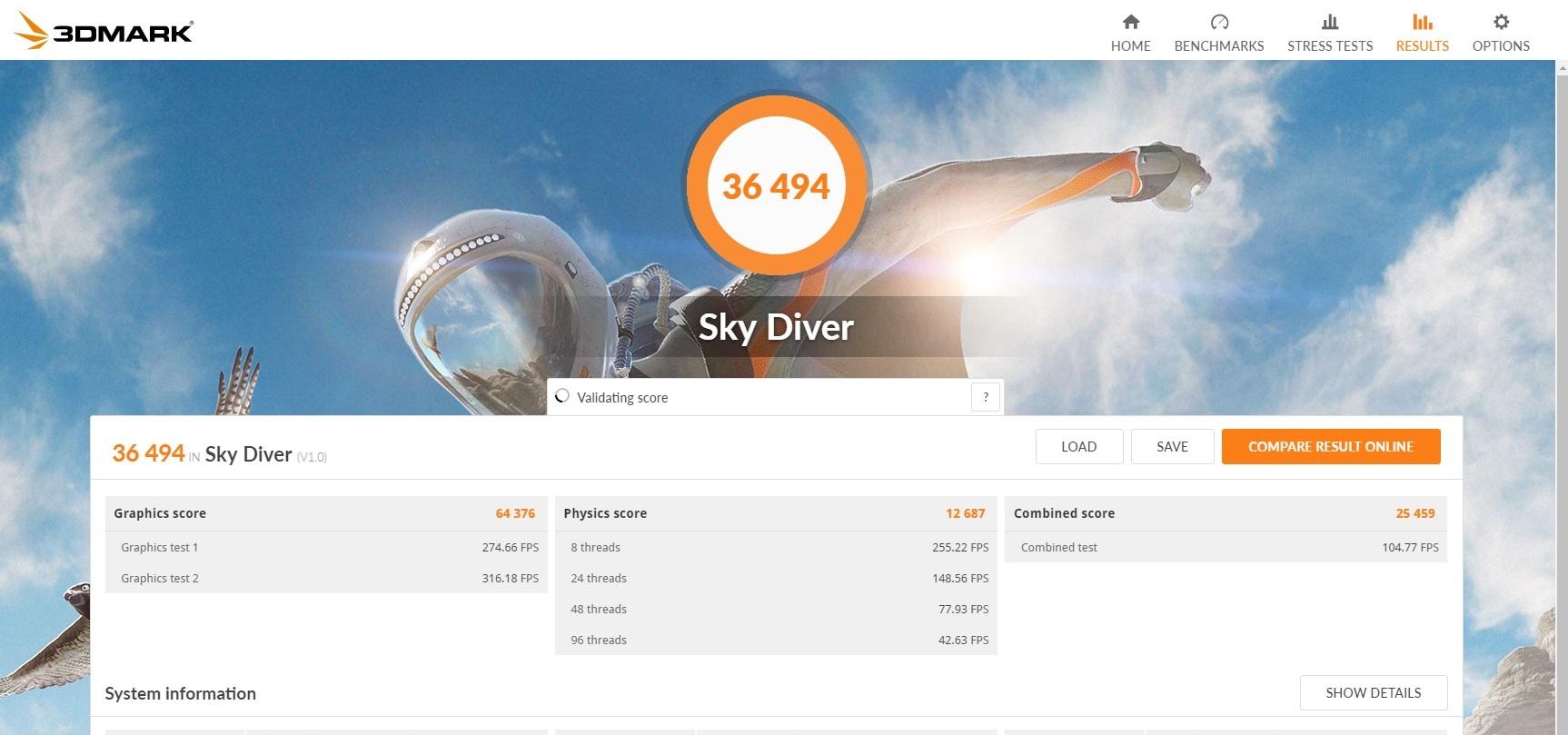 Acer Predator Triton 500-3dmark sky dive
