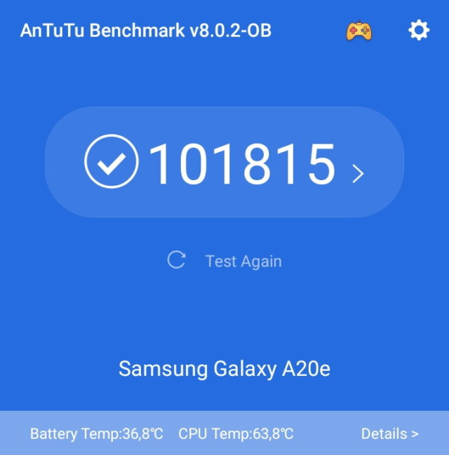 Samsung A20 AnTuTu Benchmark
