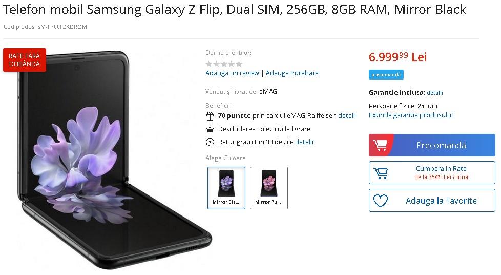 Samsung Galaxy Z Flip este disponibil la precomanda in Romania prin emag
