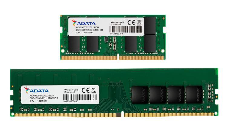 ADATA lansează modulele de memorie U-DIMM și SO-DIMM DDR4-3200