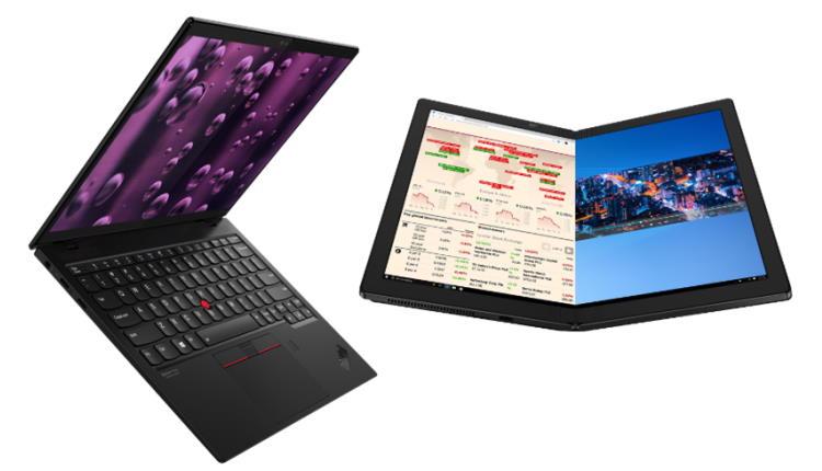 Lenovo Thinkpad X1 Nano cel mai usor (doar 907g) iar X1 Fold este primului PC pliabil din lume ce il poti comanda