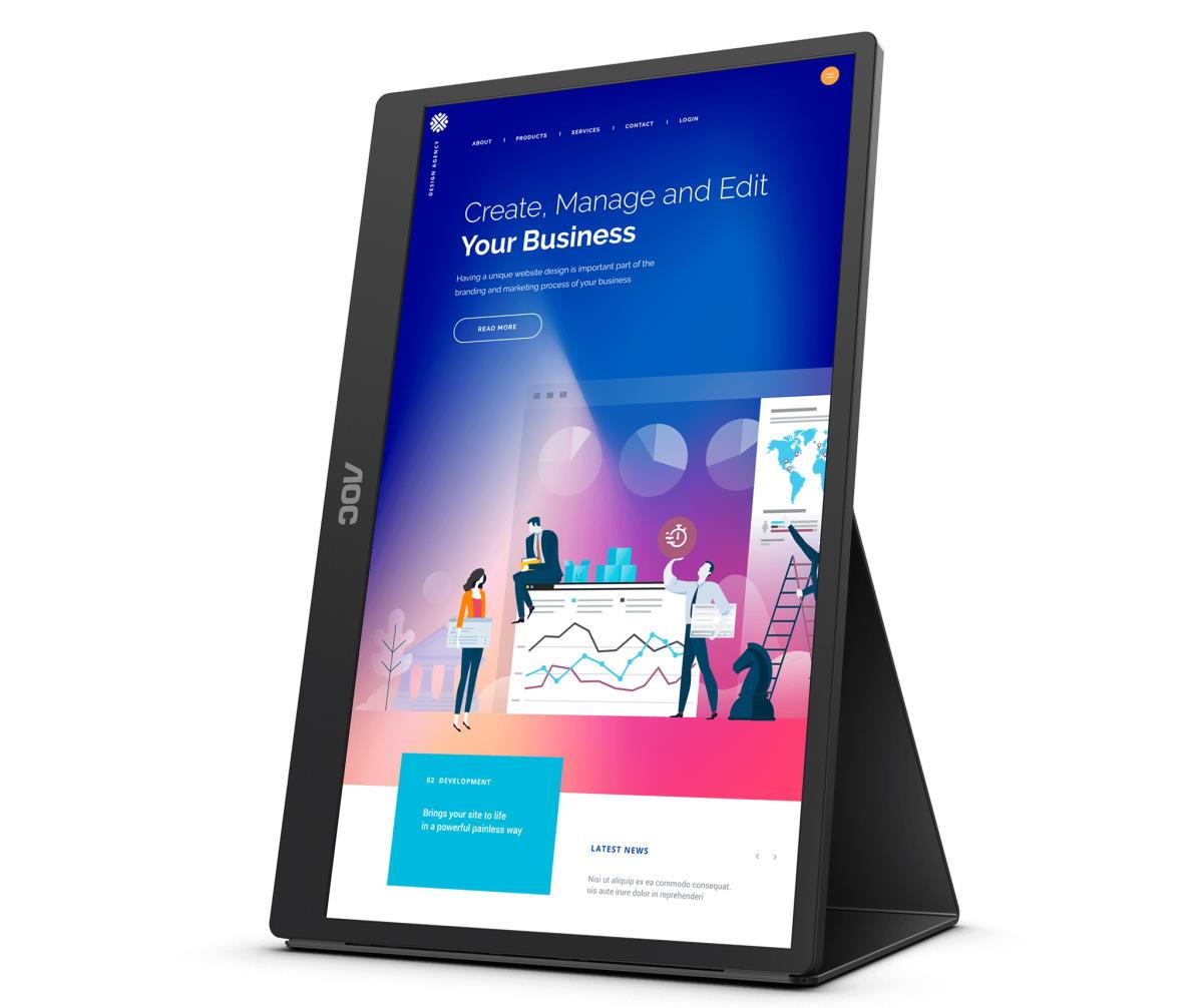 """AOC 16T2 este noul monitor portabil de 15,6"""" cu touchscreen în 10 puncte şi cu o baterie de 8000 mAh-portret"""