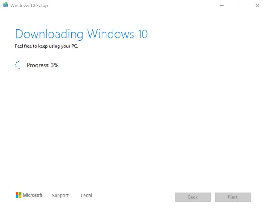 Cum pregătim o memorie USB bootabilă pentru instalarea de Windows 10-progres